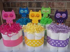 Items similar to Bright Owl Diaper Cakes-Set of 3 Small Cakes-Baby Shower Gift/Centerpiece on Etsy Idee Baby Shower, Owl Shower, Shower Bebe, Baby Shower Cakes, Baby Shower Parties, Baby Boy Shower, Baby Shower Gifts, Shower Ideas, Baby Showers