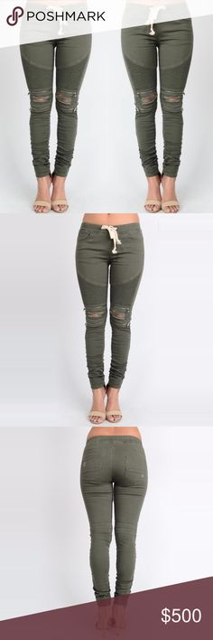 Moto Ripped Skinny Jean Legging Joggers #856 The essential skinny jean leggings with ribbed moto detail and zipper trim on knees.   • Ripped knee and light distressing in back pockets • Elastic drawstring waist (please note the drawstring is the same green as the pants, not white as in pic) • 97% cotton, 3% spandex  ❗️ See detailed measurements in comments below. ❗️ dottie + chloe Jeans Skinny