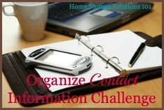 Organize Contact Information Challenge {part of the 52 Week Organized Home Challenge on Home Storage Solutions 101}
