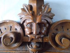 Greenman Vintage French Wood Pediment by CelticPaganFairy on Etsy