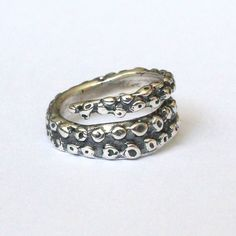 Octopus Tentacle Ring in Solid Sterling Silver 077 by mrd74, $150.00