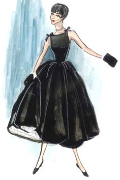 "Illustration - Edith Head Sketch for Audrey Hepburn in ""Sabrina"","