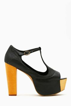 Jeffrey Campbell Foxy Platform - Black shoes with chunky wooden heel.