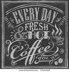 hand-drawn chalk coffee menu on blackboard - stock vector