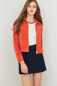 Urban Outfitters – Wildlederjacke in Rot mit Reißverschlüssen – Damen 34