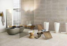 salle de bains japonais avec carrelage d'aspect pierre