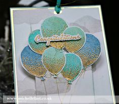 close up view of birthday balloons using  Balloon Celebration from Stampin' Up!  ... by Michelle Last ... luv the gold embossing fr the texture pattern ...