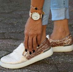 sequin-gold-sneaker- Classy and trendy sporty shoes http://www.justtrendygirls.com/classy-and-trendy-sporty-shoes/