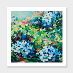 Kaleidoscope (Hydrangeas in Phthalo & Neon) Art Print by Jenni Stringleman