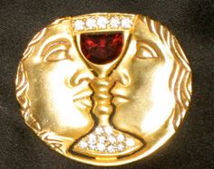 Vintage Gold Brooch with Swarovski Crystals 1980s by truthorwear, $255.00
