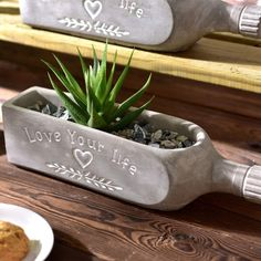 Best 11 This concrete wine bottle planter takes inspiration from vino but looks ultra stylish filled with plants. Diy Concrete Planters, Concrete Garden, Diy Planters, Diy Projects Cement, Concrete Crafts, Diy Home Crafts, Easy Home Decor, Cement Art, Papercrete