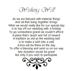 Various Wishing Well Poems (Wedding, engagement, baby shower, etc) - 2 Hearts Invitations