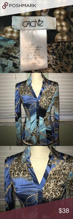 Cache long sleeve button up Blouse Cache long sleeve button up Blouse. Normal wash and wear Cache Tops Blouses