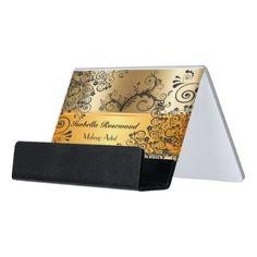 #makeupartist - #Makeup Artist Gold Swirly Vines Desk Business Card Holder