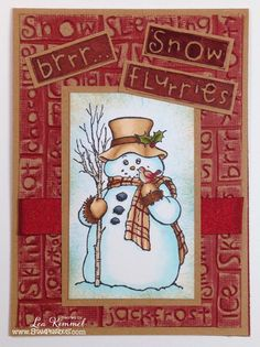 Lea Kimmel:  Stampendous Country Snowman; Cuttlebug Sledding embossing folder; Core'dinations cardstock; Distress Inks; Copic Markers