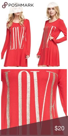 ❤️ON SALE❤️LOVE GLITTER TUNIC LOVE GLITTER TUNIC, love is done in gold glitter, dress these tunics up or down, wear them with leggings or alone, super comfy, 95% rayon, 5% spandex Tops Tunics