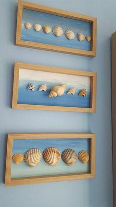 Seashell Bathroom Decor, Seashell Art, Seashell Crafts, Beach Crafts, Home Crafts, Diy And Crafts, Crafts For Kids, Arts And Crafts, Crafts With Seashells
