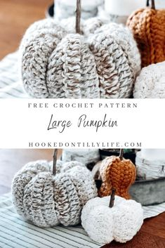 Large Pumpkin - Free Crochet Pattern — Hooked On Tilly Thanksgiving Crochet, Holiday Crochet, Crochet Home, Crochet Gifts, Crochet Yarn, Free Crochet, Crochet Things, Crochet Kitchen, Large Pumpkin