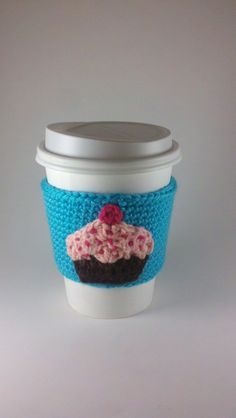 Items similar to Teal Crochet Cupcake Cup Cozy Sleeve on Etsy Crochet Coffee Cozy, Coffee Cup Cozy, Crochet Cozy, Crochet Slippers, Crochet Crafts, Crochet Yarn, Crochet Projects, Diy Crafts, Faith Crafts