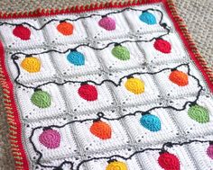 Crochet Christmas Lights Afghan Pattern | AllFreeCrochetAfghanPatterns.com