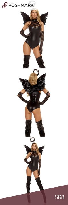 🆕Mischief Dark Angel Costume #693-SM Ready to ship! Cause a little chaos this Halloween in our Mischief Dark Angel Costume. This sexy costume includes an intricately textured faux leather bodysuit with mock neck style, and lavish lace inset with gloves to match! And it's all topped off with an angelic ally teasing halo.   Comes with textured faux leather mock neck bodysuit, with lace inset, matching lace gloves, & halo. *WINGS ARE NOT INCLUDED* . Polyester/Spandex Blend. Price is Firm…