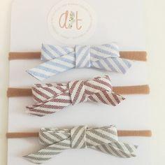 Striped Sweetie trio of comfy headbands by AnzanasTreasures