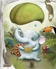 bibliolectors: A forest with readers / Una selva con lectores (ilustración de Laura González)
