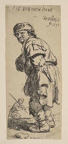 """A Peasant Calling Out: """"T is vinnich kout"""" Rembrandt (Rembrandt van Rijn)  (Dutch, Leiden 1606–1669 Amsterdam) Date: 1634 Medium: Etching Classification: Prints Credit Line: Gift of Felix M. Warburg and his family, 1941 Accession Number: 41.1.63"""