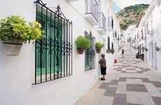 Street scene in Mijas pueblo, a spanish white village near the Costa Del Sol, Spain.