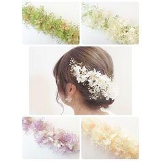 ヘッドピース(シングル)2!プリザーブド紫陽花&かすみ草