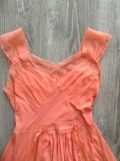 Women's Clothing Vtg Nylon Polyester Floral Full Slip Spring Summer Dress Orange Green Euc To Adopt Advanced Technology