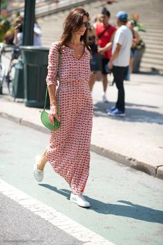 Print/PolkaDot Sleeveless A-line Casual Maxi Dresses - Dresses - chicsoso Party Dresses For Women, Summer Dresses, Casual Dresses, Fashion Dresses, Maxi Dresses, Look Street Style, Moda Casual, Maxi Robes, Dress With Sneakers