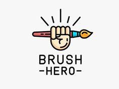 Brush hero designed by Dmitry. Logo D'art, Logo Branding, Logo Design Inspiration, Icon Design, Logo Mano, Cart Logo, Monogram Maker, Logo Minimalista, Affinity Designer