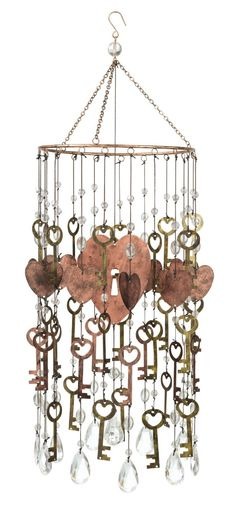 Amazon.com : Grasslands Road Heart and Key Mobile, 25-Inch, Set of 2 : Wind Noisemakers : Patio, Lawn & Garden ~ Windchime inspiration ♥
