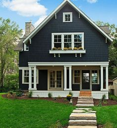 59 stylish home black and white house design exterior 57 Black House Exterior, Exterior Paint Colors For House, Paint Colors For Home, Paint Colours, Bungalow Exterior, Grey House Exteriors, Craftsman Exterior Colors, Cottage Exterior, Style At Home
