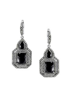 MARC Sterling Silver Onyx Marcasite Earrings Price: $99