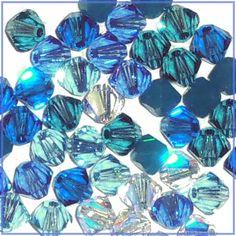 48 4mm Xilion 5328 Glacier Mix Swarovski Crystals Bicone Blue Aqua Clear AB  $4.98 at CDVDMart