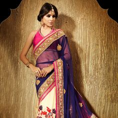 Dark Blue and Beige Net and Faux Georgette Saree with Blouse