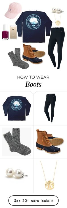 """Bean Boot Love"" by madison426 on Polyvore featuring L.L.Bean, NIKE, J.Crew, Moon and Lola, Bounkit, FingerPrint Jewellry and Essie"
