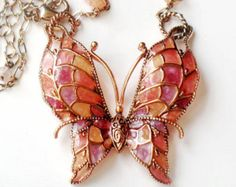 Copper Butterfly Necklace Stain Glass Pink Purple Orange Brown Plique A Jour Vintage Collectible Jewelry Autumn Winter