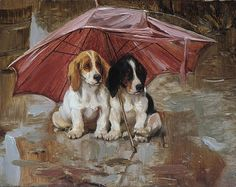 Dogs Under Umbrella Original Miniature Oil