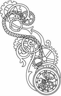 Steampunk Gears Coloring Pages - Bing Images Rose Coloring Pages, Adult Coloring Pages, Coloring Books, Rose Tattoos, New Tattoos, Gear Drawing, Steampunk Gears, Steampunk Pirate, Steampunk Bicycle