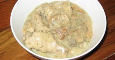"""Romanian Mushrooms and Chicken in White Sauce (Ciulama Cu Ciuperci Si Pui)."""") (Note: Actually a mild sour cream sauce.) (Suggestion: Use fresh mushrooms and cook a bit before adding water. Lemon Dill Sauce, Creamy Dill Sauce, Creamy Mushroom Sauce, Creamy Mushrooms, Chicken White Sauce, White Sauce Recipes, Jo Cooks, Buttermilk Fried Chicken, Yummy Chicken Recipes"""