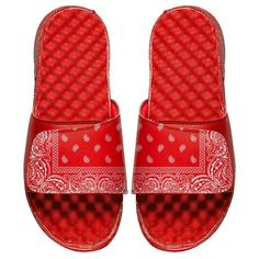 Fancy is the place for you to find amazing things curated by our global community. Discover and collect the things you love, and buy it all in one place! Red Bandana Shoes, Bandana Nails, Bandana Dress, Cute Sandals, Slide Sandals, All Red Nike Shoes, Sneakers Fashion, Fashion Shoes, Cute Slides