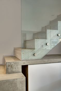 Victorian-Era Town House Gеtѕ A Classy Renovation And Modern Touches In Western London City : Wooden Stair Design With Glass Railing Concrete Staircase, Glass Stairs, Staircase Railings, Wooden Staircases, Glass Railing, Staircase Design, Stair Design, Banisters, Stair Detail