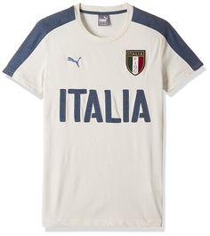 8d240d176766a4 Puma Men s Round Neck T-Shirt (4056204460603 748819031 X-L Whisper White and  Dark Denim)