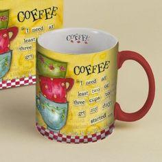 Lang Two or Three Cups 14 oz Ceramic Mug MW/DW Safe NEW Lisa Kaus