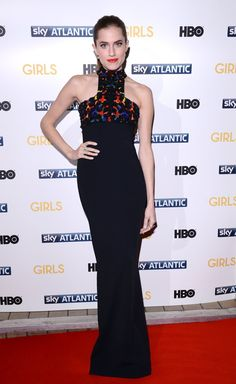 Pin for Later: This Is Why We Know Allison Williams Will Bring Her A-Game to Peter Pan  Allison often highlights her styling tricks by tying up her hair. We love the way she matched her lip to the pattern in her geometric-cut dress.