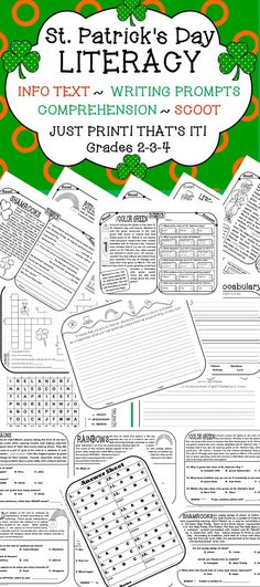 ST PATRICKS DAY  If you want to add some holiday fun into your day without sacrificing learning, simply print these out and use them as morning warm ups, pieces of your lit centers, part of your homework packet or something fun for early finishers!  This product covers the following six topics: LEPRECHAUNS, THE COLOR GREEN,  IRELAND, POTS O' GOLD, RAINBOWS, SHAMROCKS through the following activities: INFO TEXT, VOCAB STUDIES, WRITING PROMPTS, WORD SEARCH, CROSSWORD, SCOOT GAME