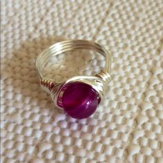 Gemstone Wrap Ring Pretty Pink Agate Gemstone Handwrapped with Sterling Silver Plated Wire! Size 7 or Custom Size available DesignsbyKaren Jewelry Rings